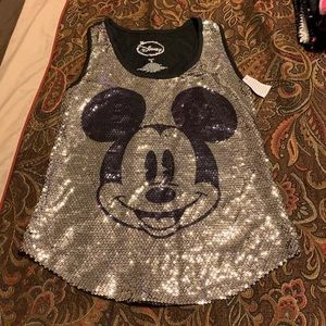 """New """"Disney""""Mickey Mouse silver Sequin tank size S"""